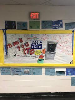 This picture shows a thank you bulletin board for our new water refill stations