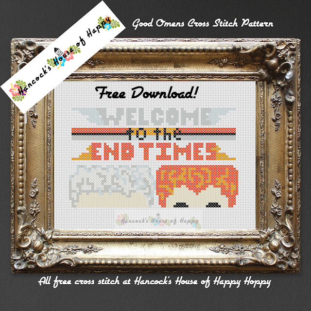 Aziraphale and Crowley Good Omens Cross Stitch Chart. Download this chart for free below!