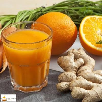 عصير البرتقال بالزنجبيل مع الكركم