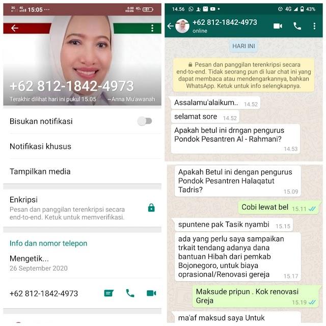 Hati-hati Modus Penipuan Mengatasnamakan Bupati Bojonegoro Anna Mu'awanah