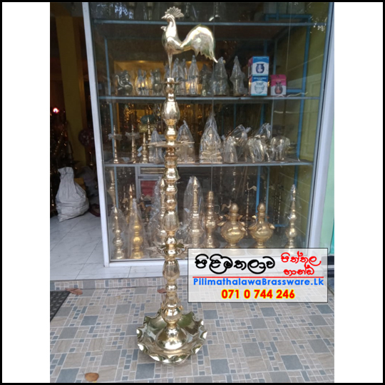 Traditional Brass Oil Lamp 6ft - Kukula Pahana - Ceremonial Lamp - කුකුලා පහන