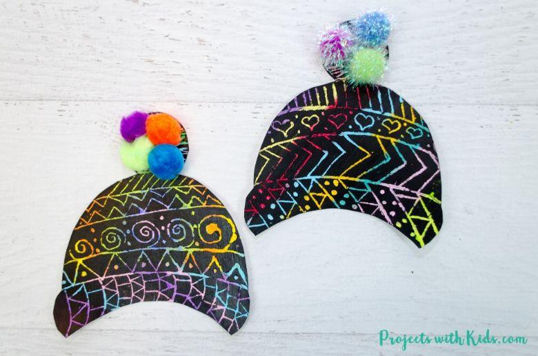 winter hat scratch art winter craft for kids