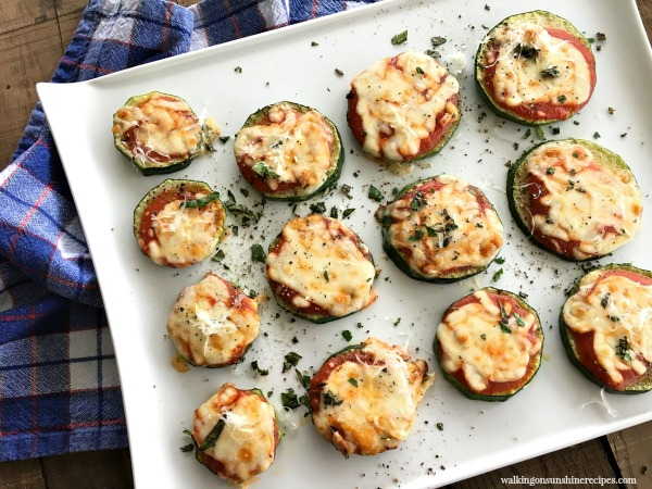 Zucchini Pizza Bites FEATURED photo on White Tray from Walking on Sunshine