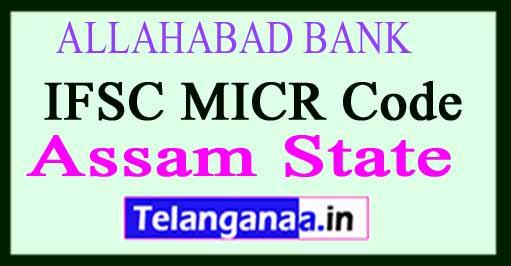 ALLAHABAD BANK IFSC MICR Code Assam State