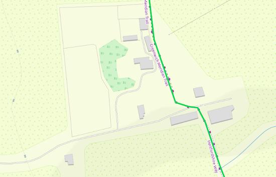 The route through Mumfords Farm