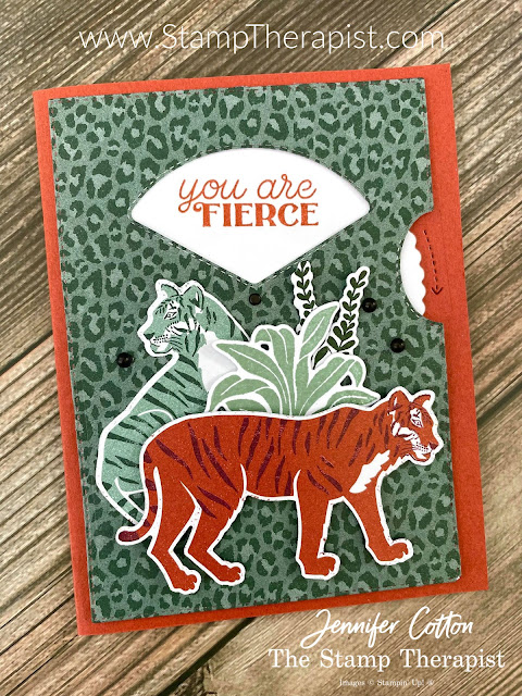 This wild Give it a Whirl (viewfinder/viewmaster) by Stampin' Up! card uses the Give it a Whirl Dies,  Wild Cats Bundle, Matte Black Dots, In the Wild Designer Series Paper.  Link to video, measurement, and supply list on the blog.  #StampinUp #StampTherapist #GiveitaWhirl #WildCats