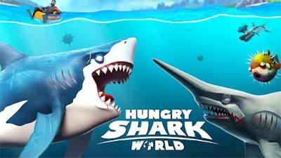 تحميل وتنزيل لعبة Hungry Shark World مهكرة الكتير من المال وخالية من الاعلانات كاملة اخر اصدار