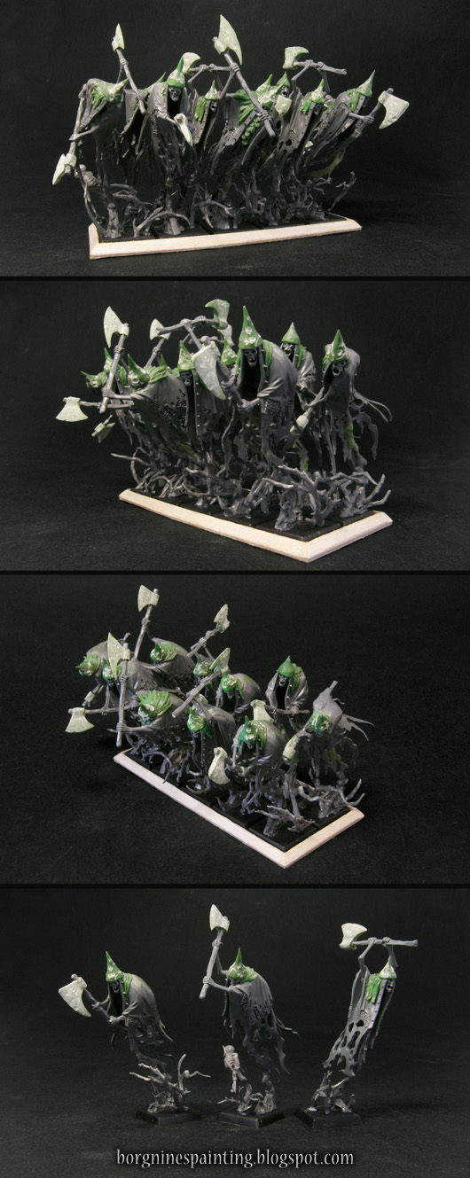 Conversion of an unit of 10 Grimghast Reapers miniatures from Age of Sigmar (AoS), made to fit tightly together as Cairn Wraiths for Warhammer Fantasy Battle (WFB) - with additional elements made of greenstuff and plasticard.