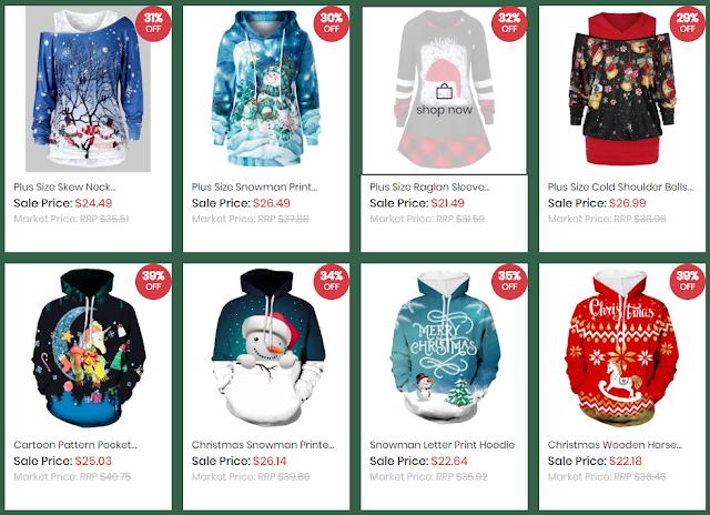 Christmas Print Hoodies DressLily