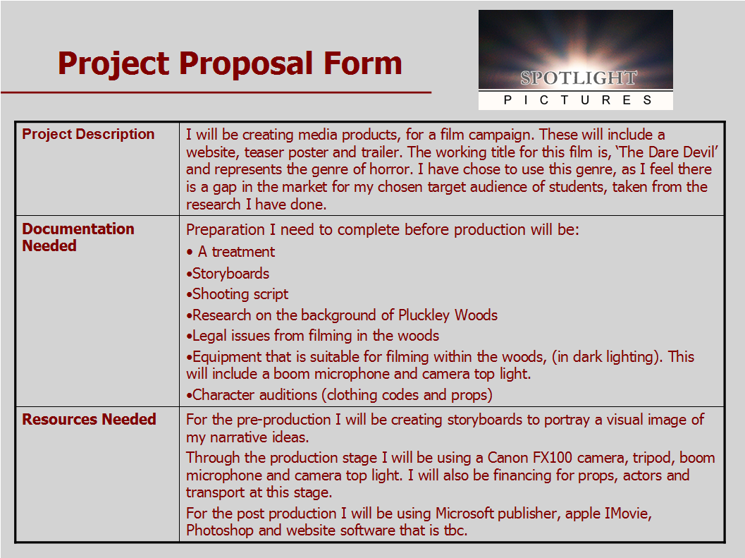 A2 Media Advanced Media Portfolio Pre Production Forms