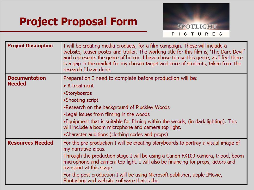 A2 Media Advanced Media Portfolio Pre Production Forms