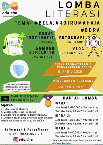 Lomba Literasi #BELAJARDIRUMAHAJA 2020 di EDUCHA