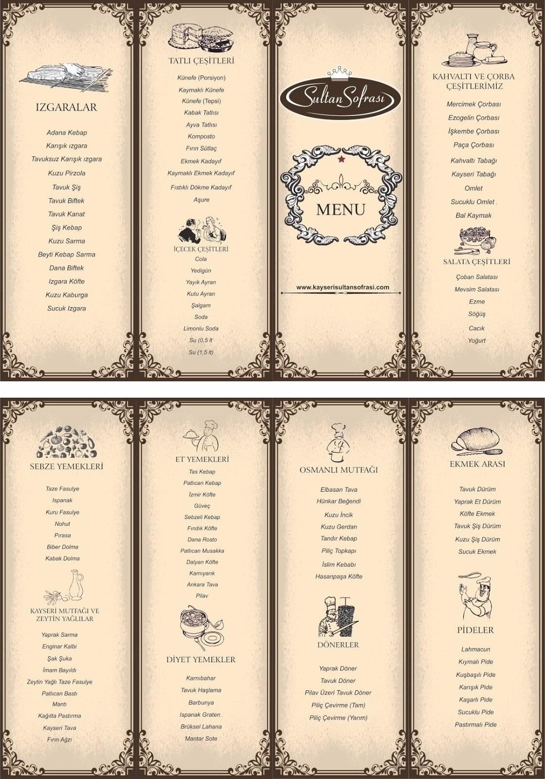 sultan sofrasi kayseri ev yemekleri sulu menu