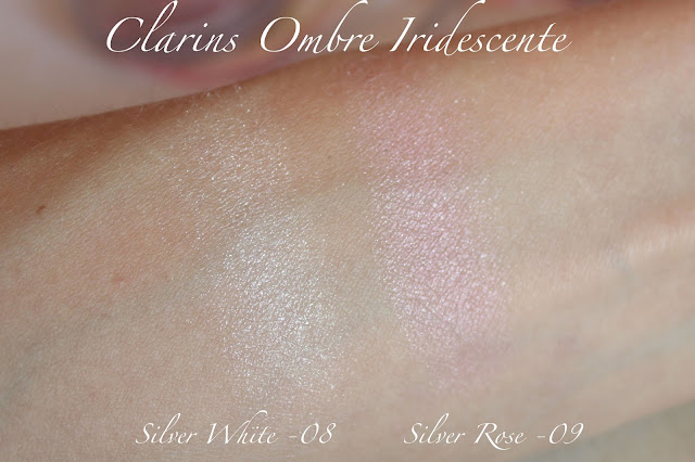 clarins 08 silver white, 09 silver rose swatch