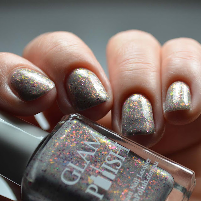 grey holographic nail polish low light swatch