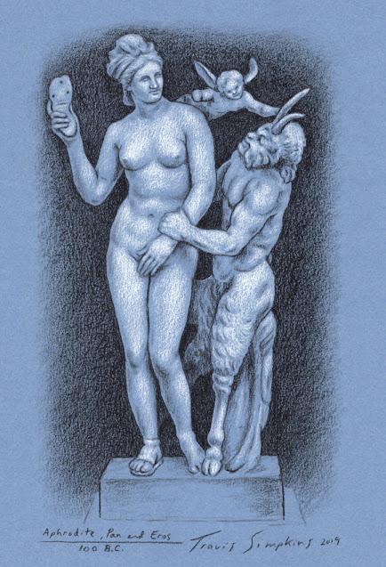 Aphrodite, Pan and Eros. Ancient Greek Sculpture. Mythology. Sketch by Travis Simpkins