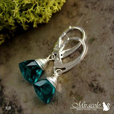 Miracolo, kwarc trójkąt, opal green quartz faceted trillion briolettes earrings, kwarc trilion, kolczyki z kwarcem