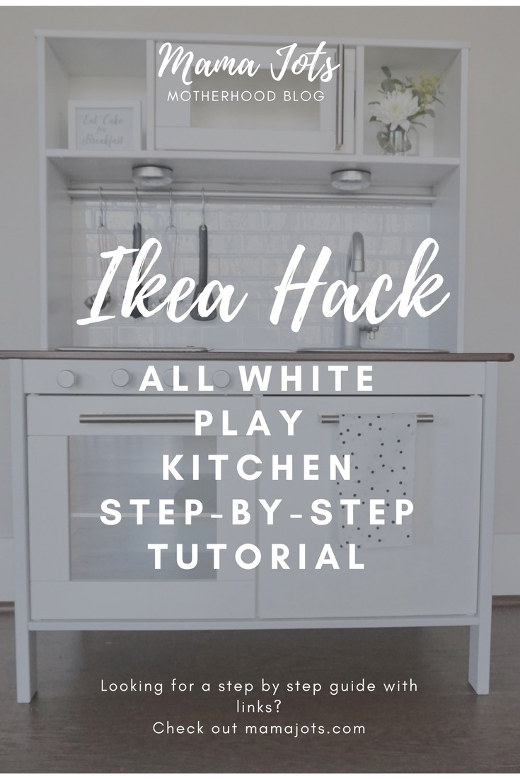 Ikea Hack white & modern play kitchen, DIY play kitchen tutorial, step by step tutorial with links play kitchen, white play kitchen