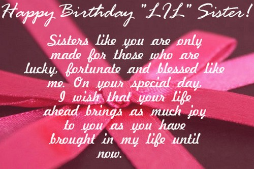 Birthday Wishes for Younger Sister