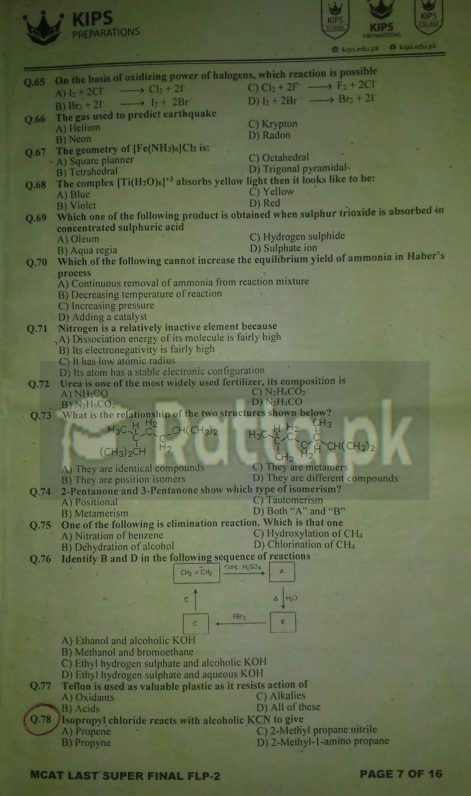 KIPS MCAT Chemistry Full Length Paper-2 2