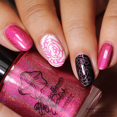 stamping swatch of the pink magenta linear holographic nail polish Enchanted Rose by Moonflower Polish for Polish Pick Up PPU August 2018