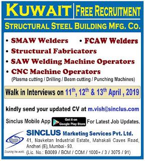 Free Recruitment Gulf jobs walkins for Kuwait text image