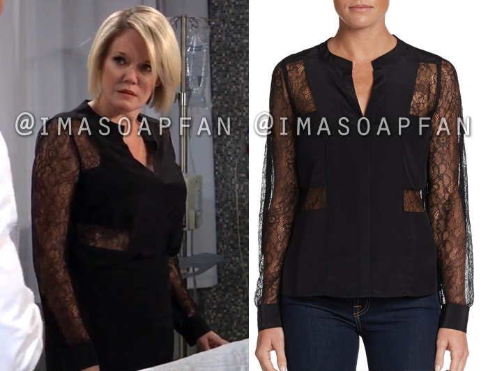 Ava Jerome, Maura West, Black Lace Blocked Blouse, General Hospital, GH