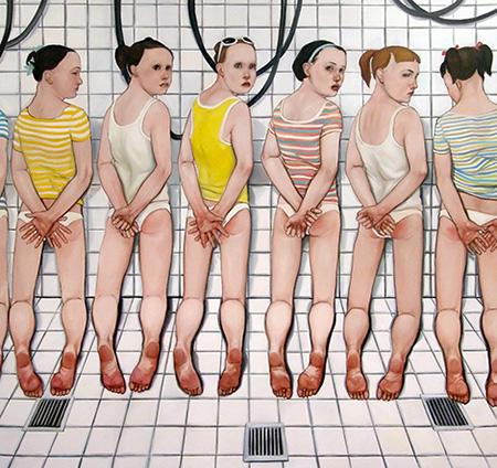 pintura del artista biljana djurdjevic con niños cubriéndose el trasero en un baño