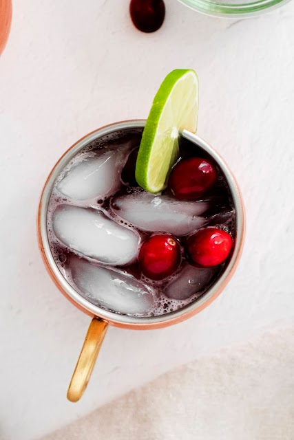 Cranberry Moscow Mule shown from above
