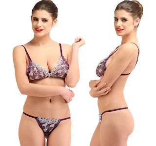 NOIA lace purple Lingerie Set