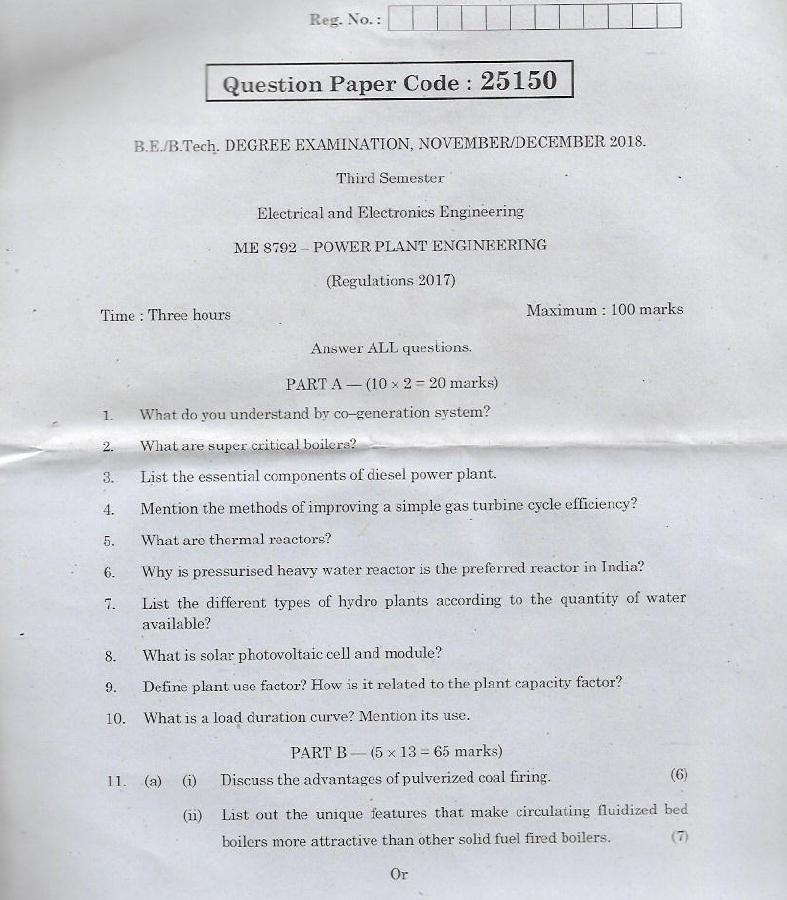 ME8792 Power Plant Engineering Nov Dec 2018 Question Paper