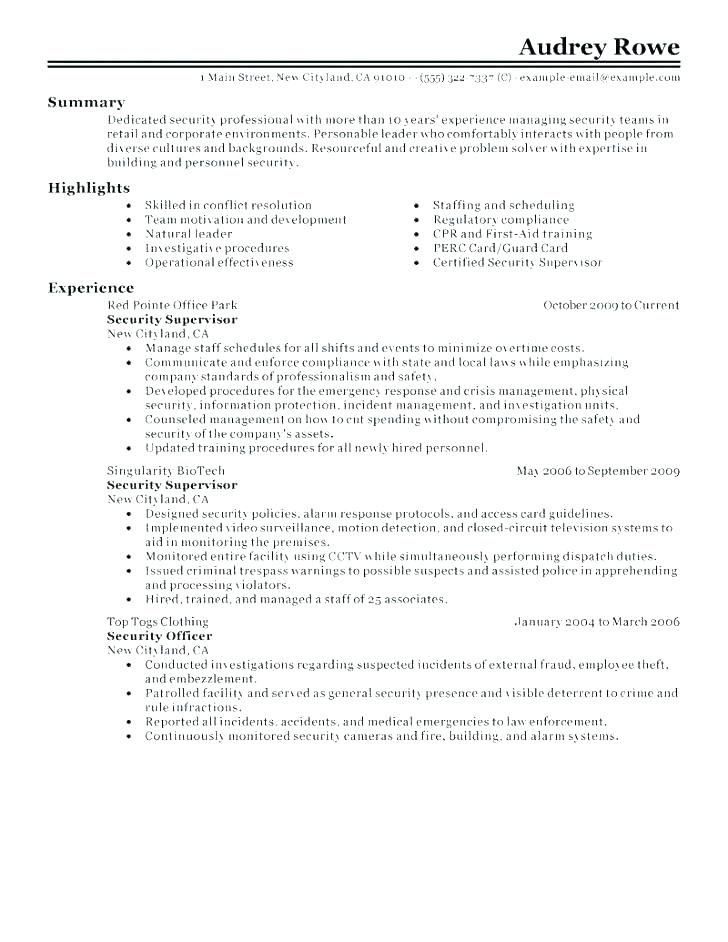 Security Guard Resume Example Best Ideas Of Officer Stunning Sample