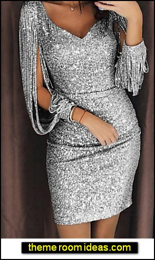 Cocktail Party Sexy Slim Bodycon Dress Sequins V Neck Black Silver Yellow