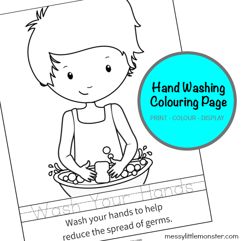 printable hand washing colouring sheet