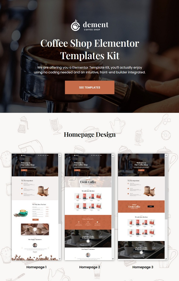 Download Coffee Shop Elementor Template Kit