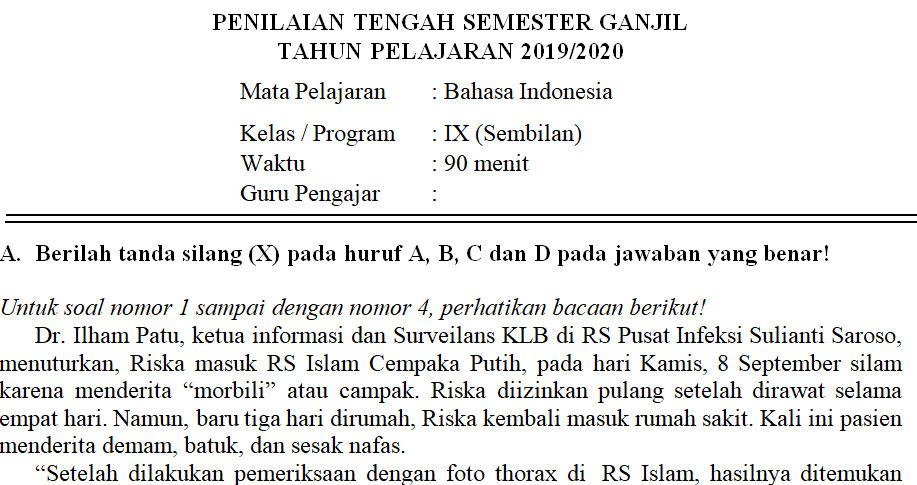 Soal Dan Kunci Jawaban Pts Bahasa Indonesia Kelas 9 Semester Ganjil Didno76 Com