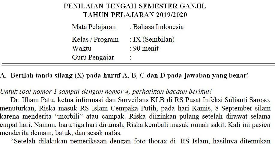 Contoh Soal Bahasa Indonesia Kelas 9 Semester 1 Beserta Jawabannya Guru Paud