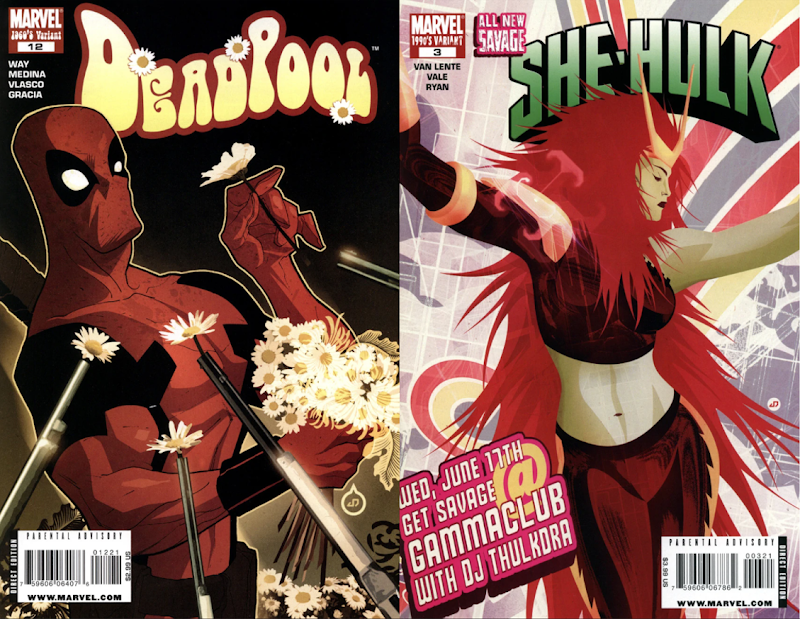 Covers showing Deadpool posing with daisies and She_Hulk in discowear with long spiky red hair and Loki style horns