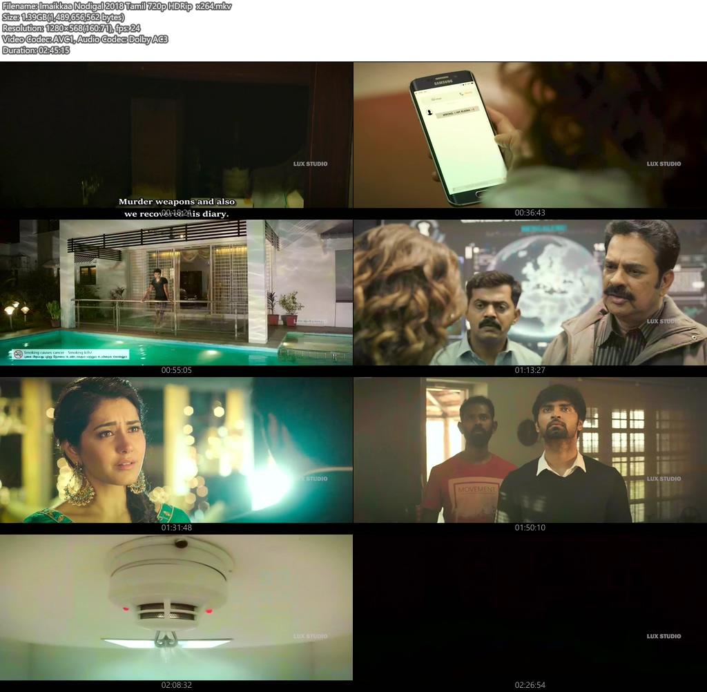 Imaikkaa Nodigal 2018 Tamil 720p HDRip x264 | 480p 300MB | 100MB HEVC Screenshot