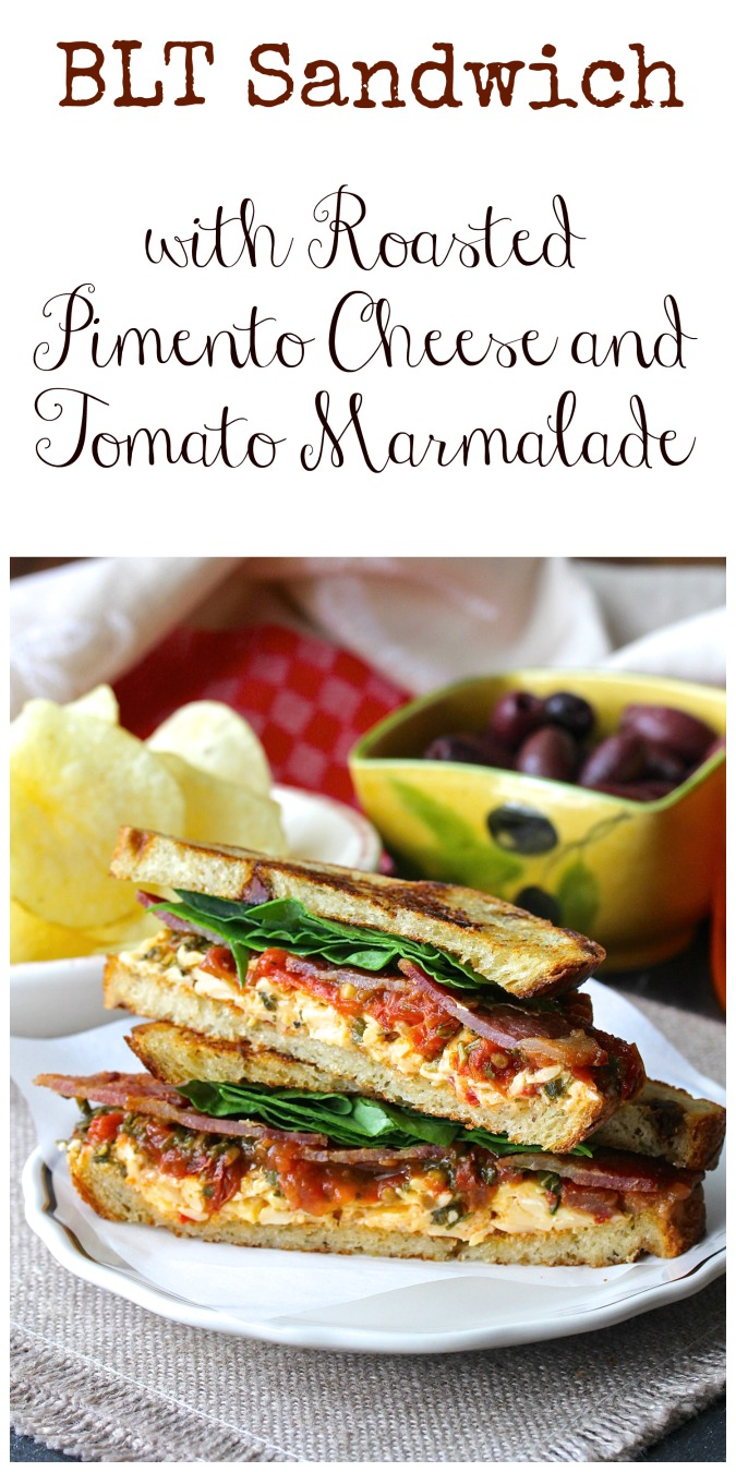 BLT Sandwich with Roasted Pimento Cheese and Tomato Marmalade #pimentocheese