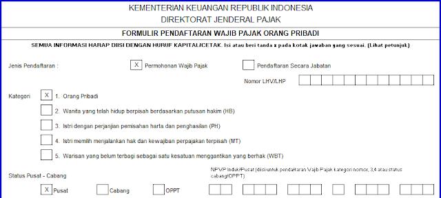 Cara Mengisi Formulir NPWP Pribadi 2019