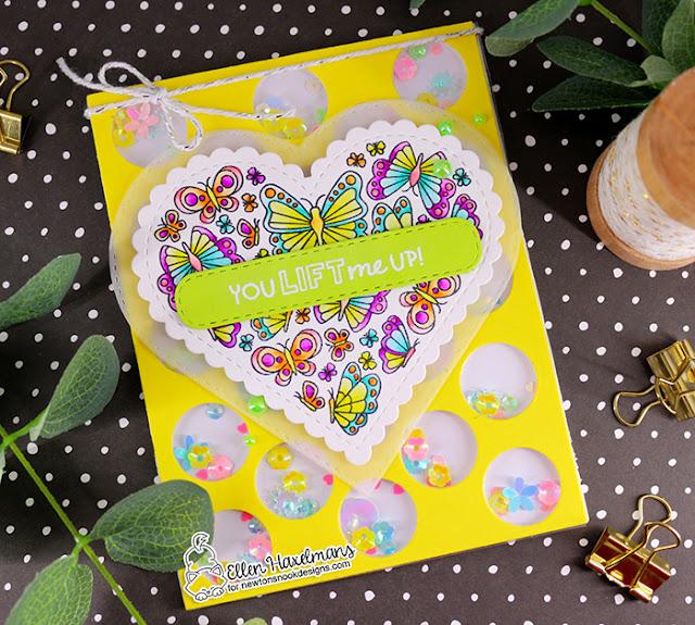 You Lift Me Up Card by Ellen Haxelmans | Heartfelt Butterflies Stamp Set, Heart Frames Die Set and Banner Trio Die Set by Newton's Nook Designs #newtonsnook