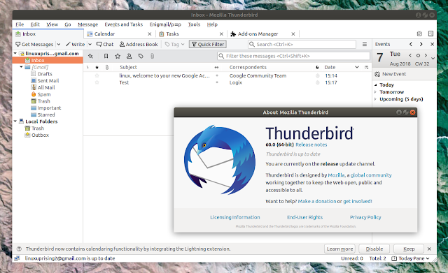 Thunderbird 60 Linux light theme