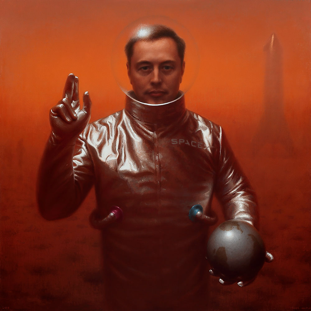 Painting of Elon Musk on Mars by Conor Walton