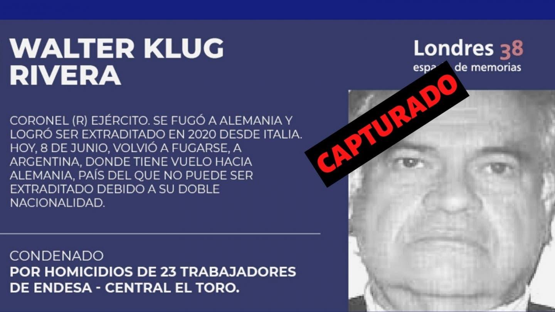 Detienen en Buenos Aires a Walter Klug Rivera, represor Chileno que estaba prófugo