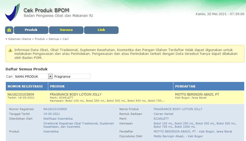 BPOM - Lotion