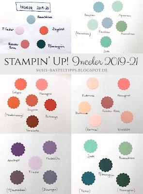 die neuen Stampin' Up! Incolors 2019-21 im Vergleich mit alten und aktuellen Farben, rokokorosa, pfauengrün, ziegelrot, rauchblau, flieder, petrol, calypso, amethyst, heideblüte, blauregen, babyblau, flamingo, calypso