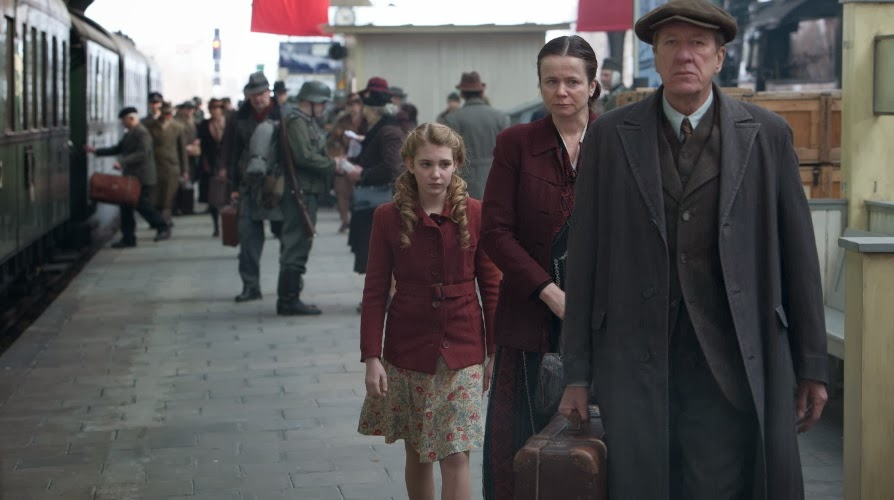 Sophie Nelisse, Emily Watson and Geoffrey Rush