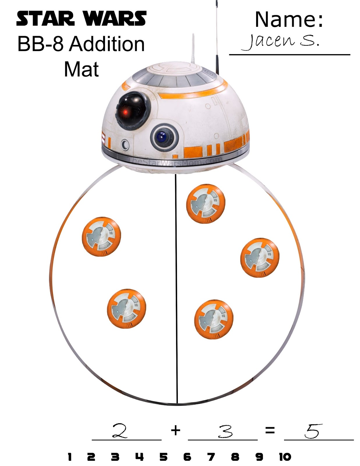 image regarding Bb 8 Printable identify BB-8 Math - Addition Mat - Star Wars Totally free Printable - The