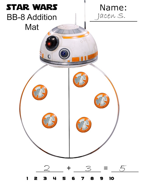 Star Wars BB-8 Free Printable Math Addition Mat - The Star Wars Mom
